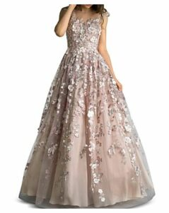 Basix Floral-Embellished Ball Gown