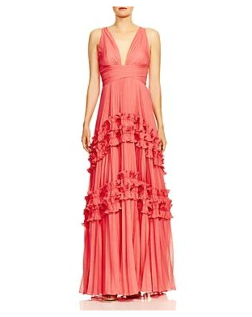 Halston Heritage Pleated Ruffle-Trimmed Gown