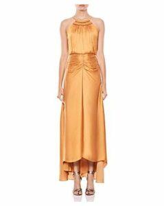 Halston Heritage Shirred Satin Gown