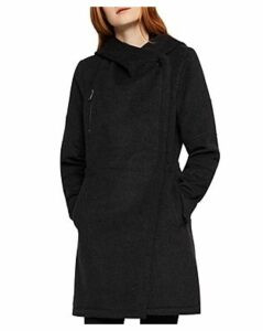 BCBGeneration Faux Leather-Trim Hooded Coat