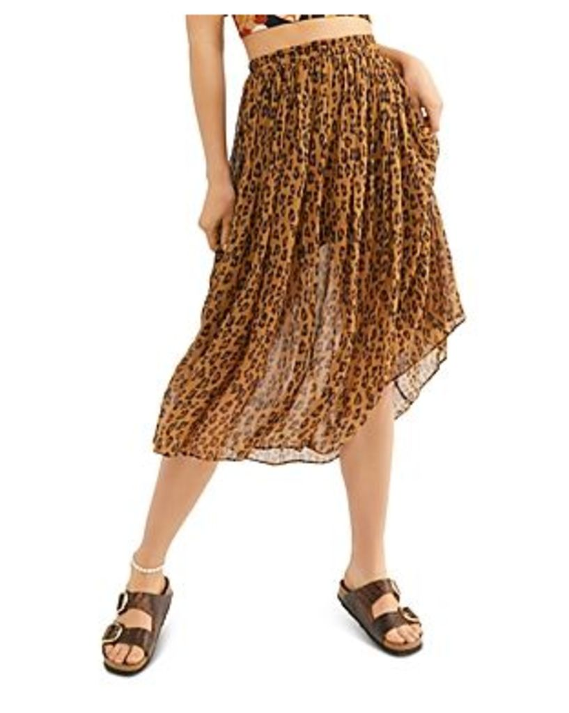 Free People Lydia Leopard-Print Skirt