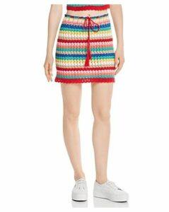 Wildfox Stassi Rainbow-Stripe Crochet Skirt