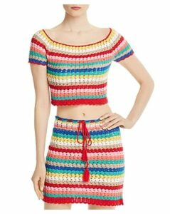 Wildfox Stassi Rainbow-Stripe Crochet Cropped Top