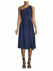 Lace One-Shoulder Midi Dress