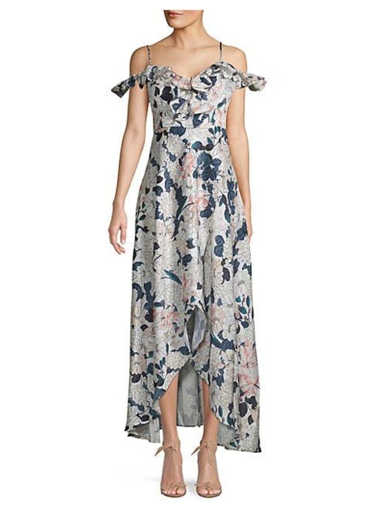 Ruffled Cold-Shoulder Floral Maxi Dress