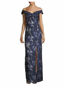 Off-The-Shoulder Metallic Floral Brocade Gown