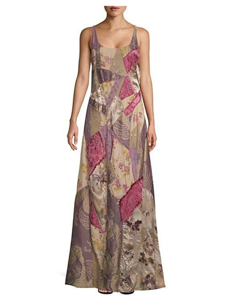 Embroidered Sleeveless Silk-Blend Gown