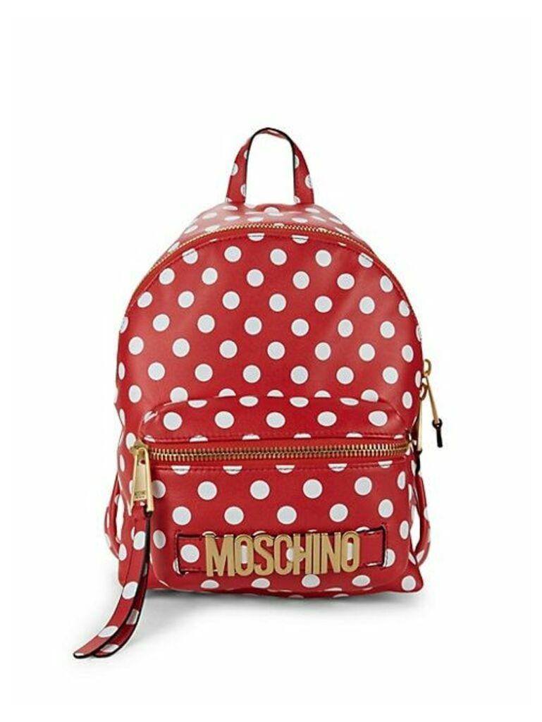 Polka Dot-Print Leather Backpack