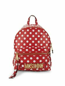Polka Dot-Print Leather Backpack