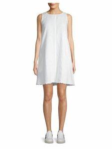 Frayed Linen A-Line Dress