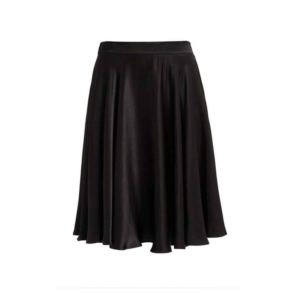 WtR Journey Black Satin Midi Skirt