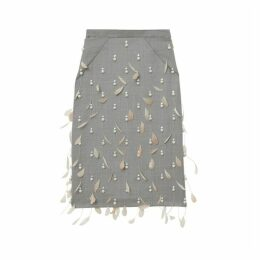 Burberry Embellished Wool Pencil Skirt
