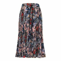 RED Valentino Printed Pleated Midi Skirt