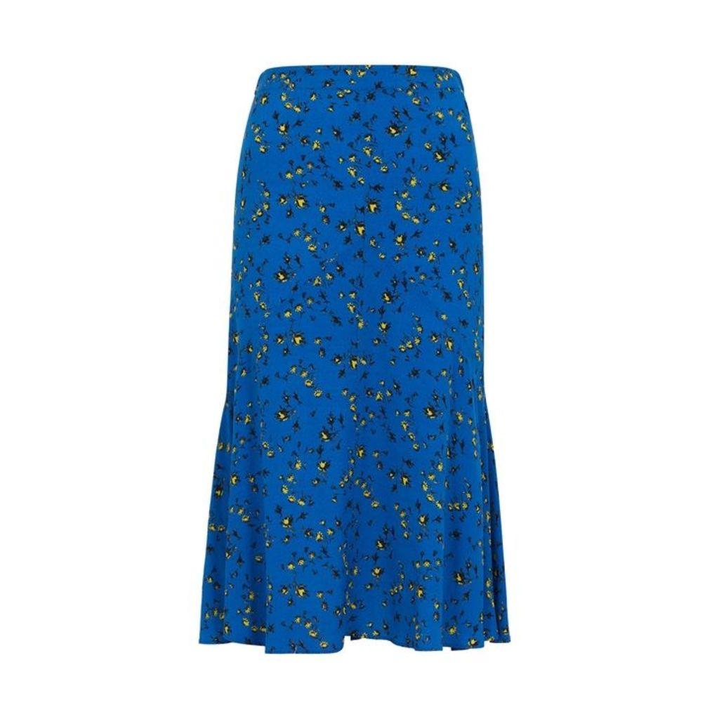 McQ Alexander McQueen Blue Printed Midi Skirt