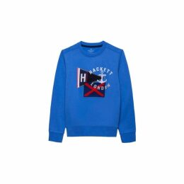 Hackett Embroidered Flag Detail Cotton Crew Neck Sweater