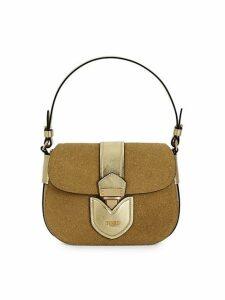 Glitter & Leather Convertible Crossbody Shoulder Bag