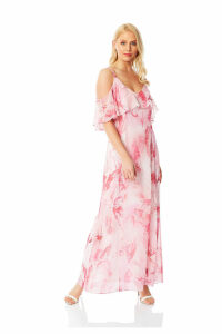 Feather Print Cold Shoulder Maxi Dress