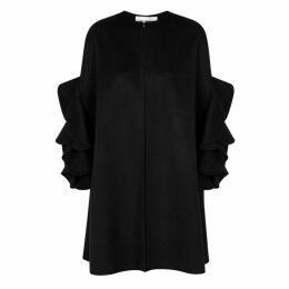 Valentino Black Ruffled Wool-blend Cape
