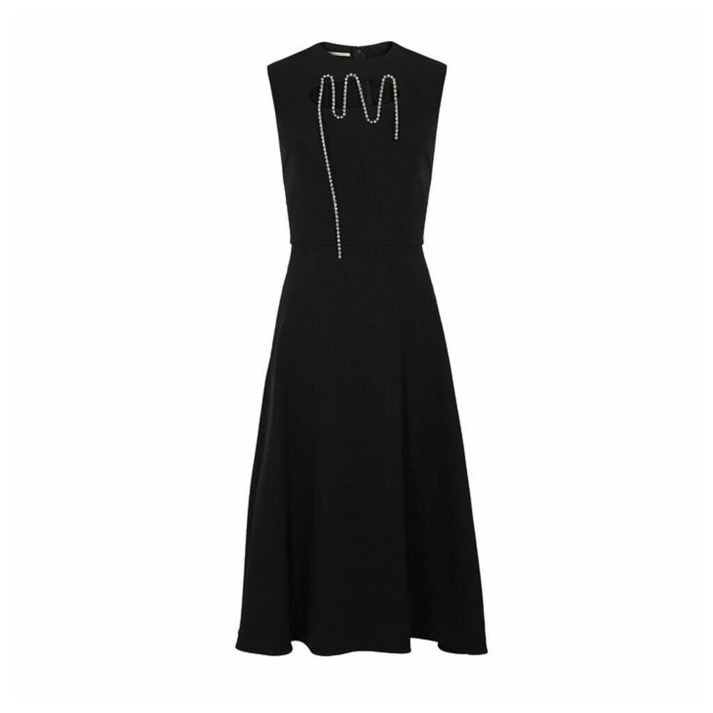 Christopher Kane Black Crystal-embellished Midi Dress