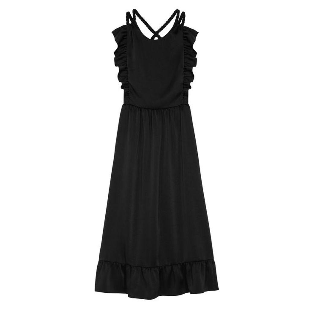 RED Valentino Black Ruffle-trimmed Satin Dress