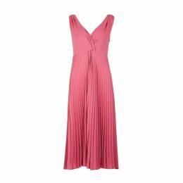 Vince Pink Twist-effect Pleated Midi Dress