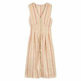 Joie Valari Striped Linen-blend Midi Dress