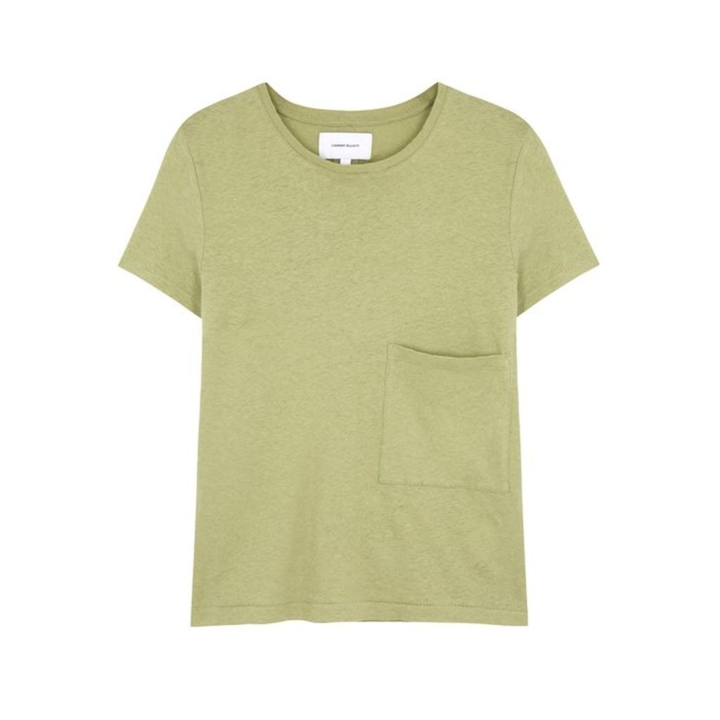 Current/Elliott Olive Linen And Cotton-blend T-shirt