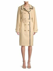 Double-Breasted Cotton Blend Trench Coat