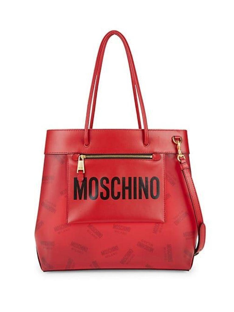 Logo Leather-Trimmed Shoulder Bag
