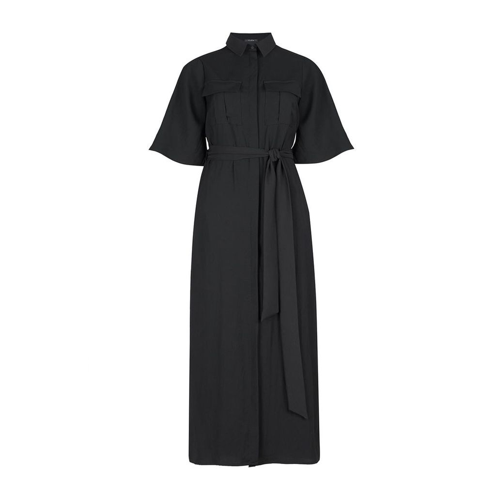 FLOW - Black Belted Shirt Dress