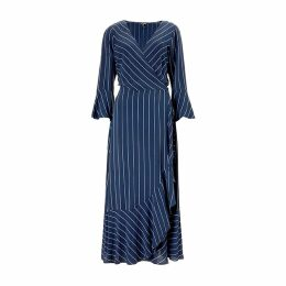 Baukjen - Harriet Wrap Dress In Blue & Slim White Stripe