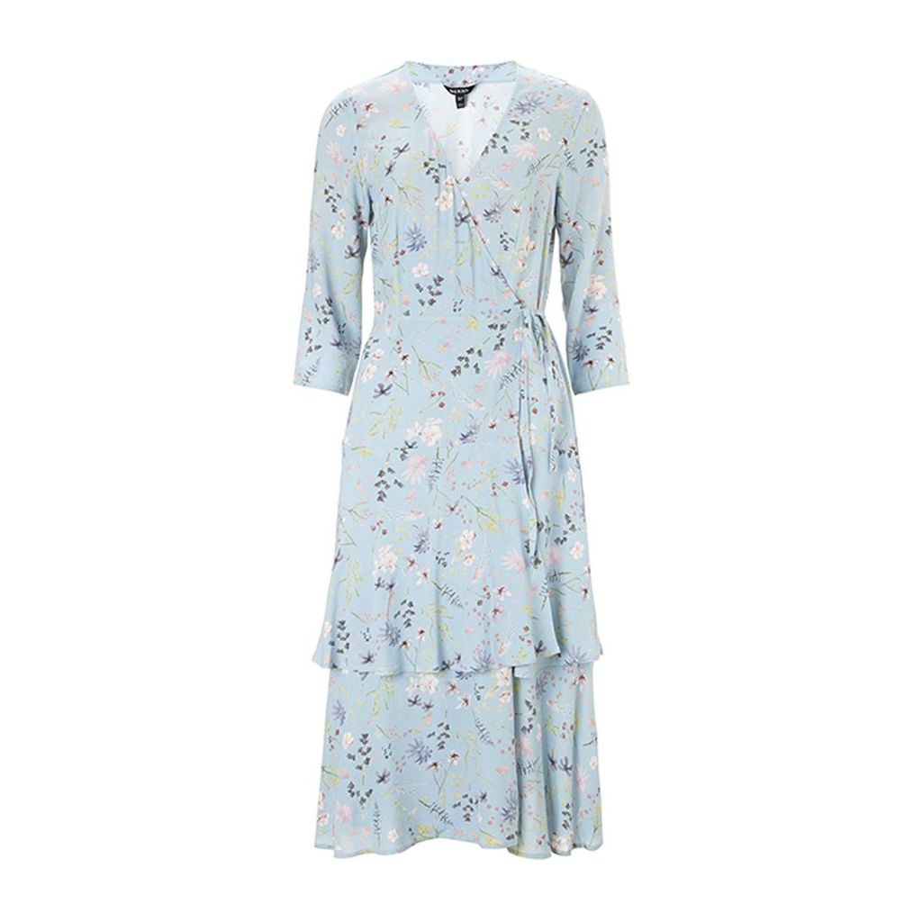 Baukjen - Kaia Wrap Dress In Light Blue Meadow Floral