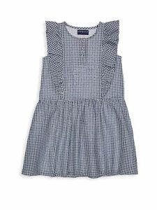 Little Girl's Puckered Gingham Ruffle Cotton Dress