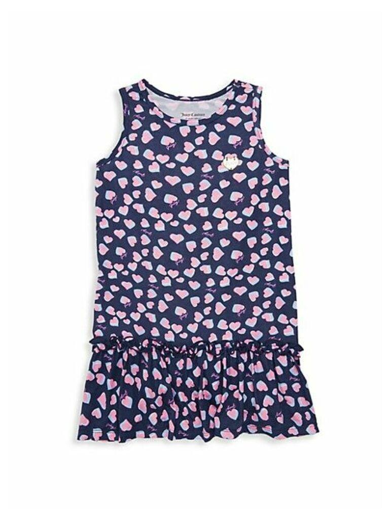 Little Girl's & Girl's Heart-Print High-Low Dress