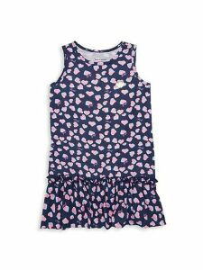 Little Girl's & Girl's Heart-Print High-Low Dress