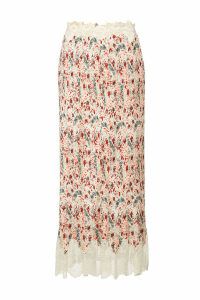 Paco Rabanne Printed Pleated Midi Skirt with Lace