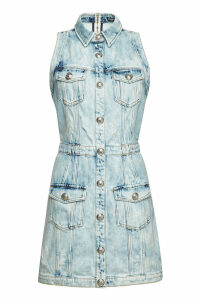 Balmain Denim Dress with Embossed Buttons