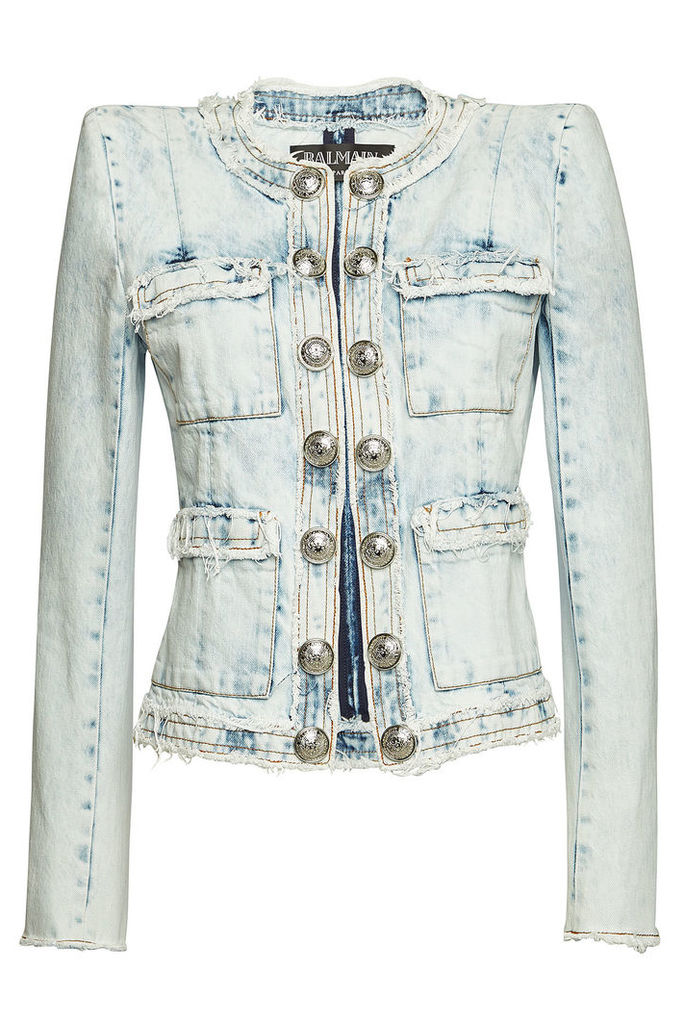 Balmain Distressed Denim Blazer with Embossed Buttons