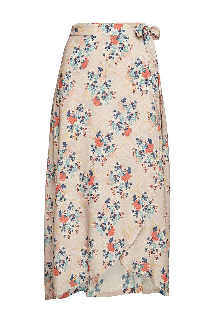 Velvet Printed Wrap Skirt