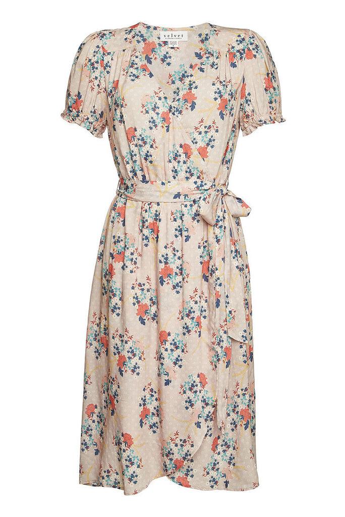 Velvet Printed Wrap Dress