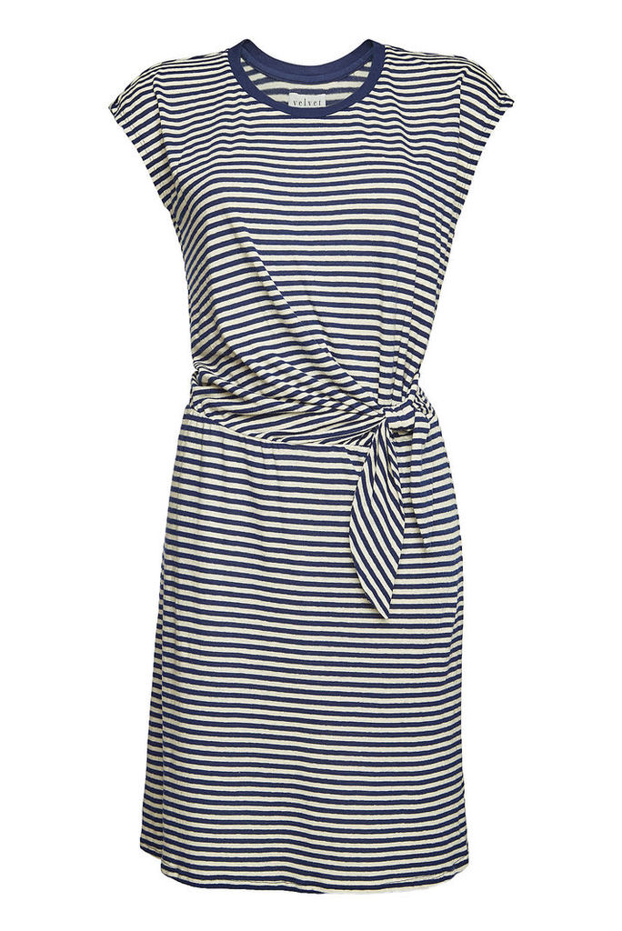 Velvet Striped Dress with Linen and Cotton