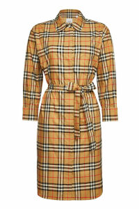 Burberry Isotto Checked Cotton Shirt Dress