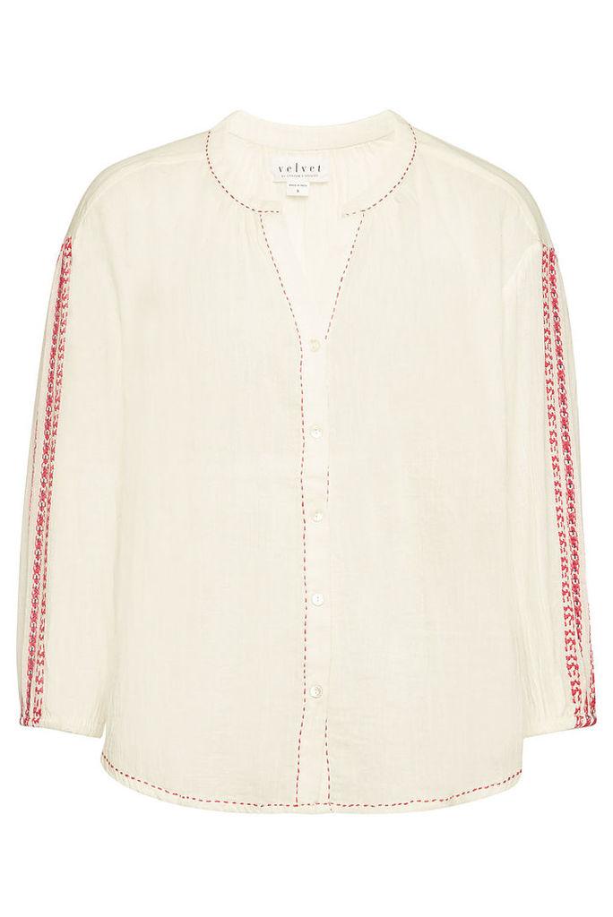 Velvet Ursul Embroidered Cotton Top