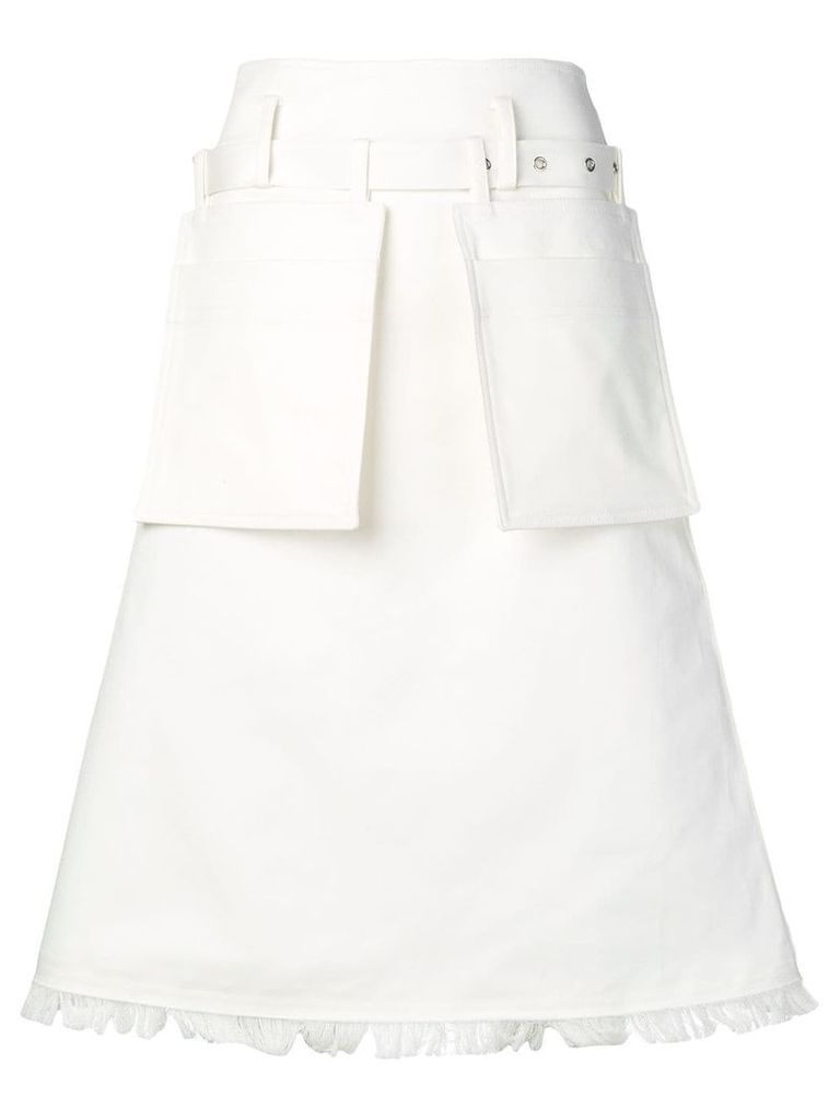Eudon Choi A-line fringed skirt - White