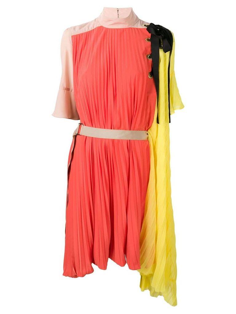 Sacai asymmetric pleated dress - Orange