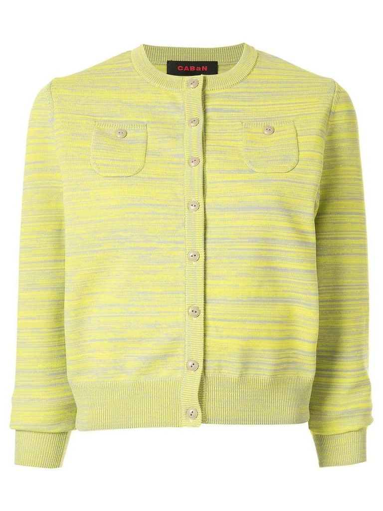 Caban striped slim-fit cardigan - Yellow