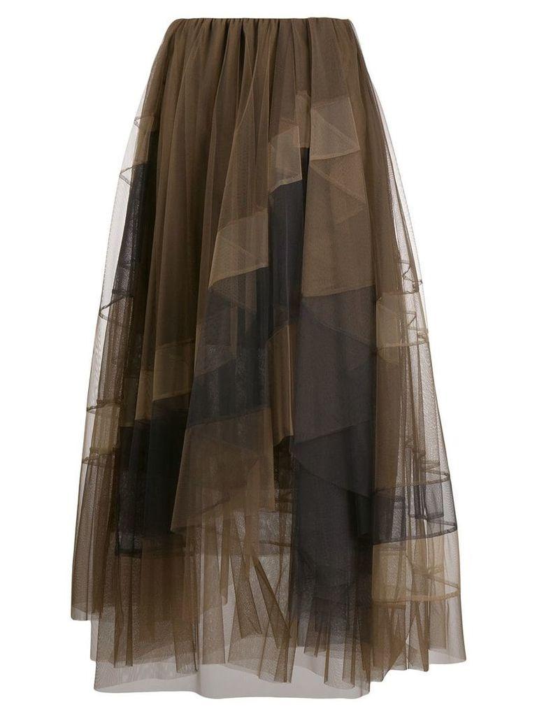 Brunello Cucinelli ruffle tulle layered skirt - Brown