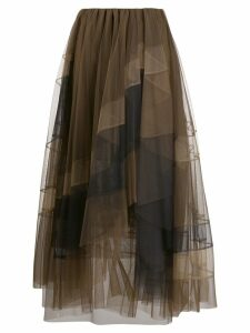 Brunello Cucinelli ruffle tulle layered skirt - Brown