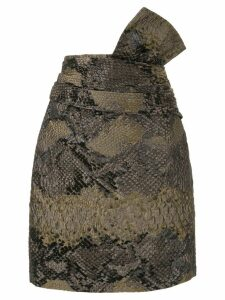 Lanvin snake-effect cloqué skirt - Brown