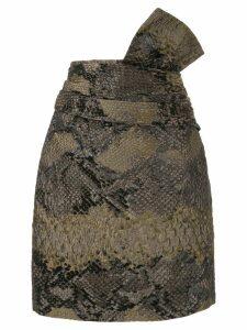 Lanvin snake-effect cloqué skirt - Brown